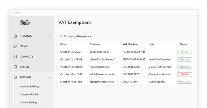 New View VAT Exemptions page in Sufio