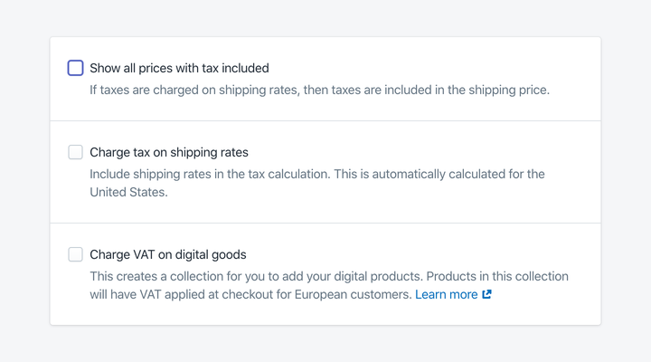 Shopify prices with tax excluded