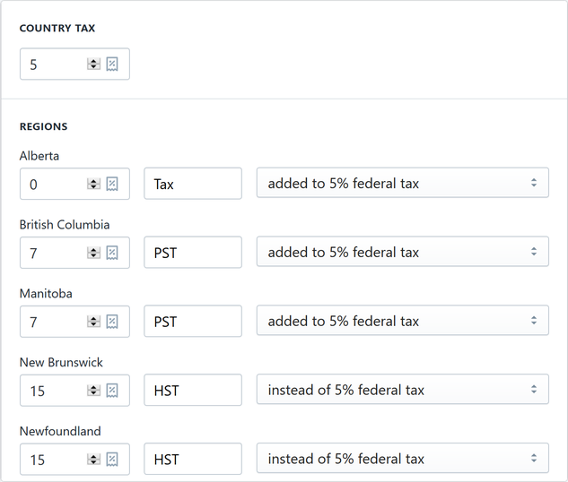 Shopify Tax Settings for Canada GST